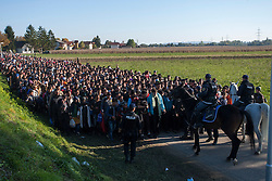 Š Licensed to London News Pictures. 24/10/2015. Rigonce, Slovenia. About 1000 migrants are escorted by Slovenian police and Slovenian army from the border crossing with Croatia near the village Rigonce to Dobova in Slovenia Photo: Marko Vanovsek/LNP