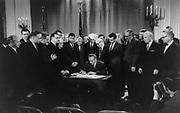 Lyndon Baines Johnson signing Civil Rights Bill, 11 April 1968. Photographer:  Warren K  Leffler.