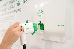 Domestic plug-in electric charger system for electric cars on display at Paris Motor Show 2010