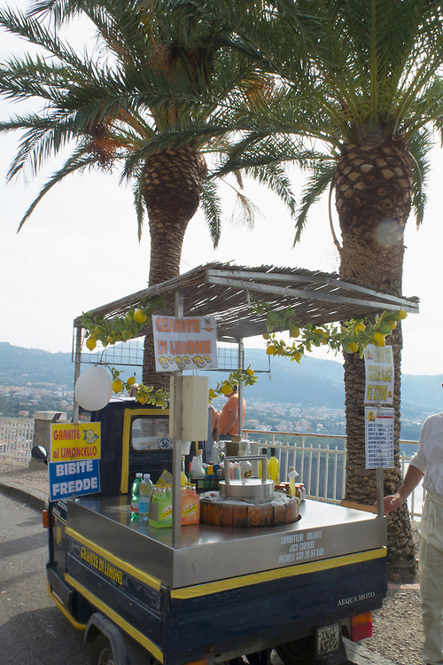Roadside cart selling limoncello and other lemon refreshments