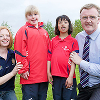 AthletesTina CahillandEmma Hoban from St. Clares School in Ennis withAll-Ireland winners Deirdre Murphy (Camogie) and Brian Lohan (Hurling) at the launch of Team Munster who will participate in the 2010 Special Olympics Ireland Games from June 9 to 13  in Limerick. <br /> Picture Credit: Sportsfile<br />