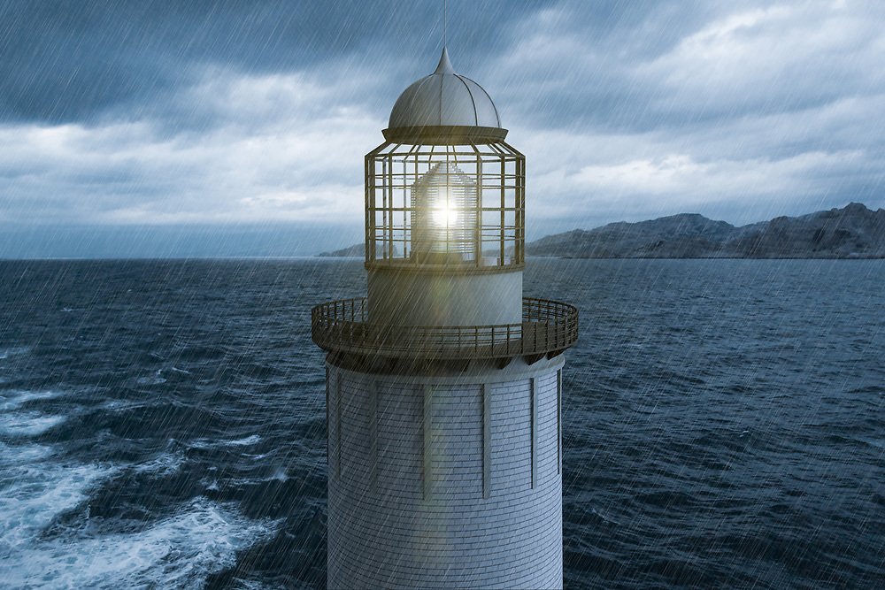 3D rendering of a lighthouse in the rain with the sea in the background.