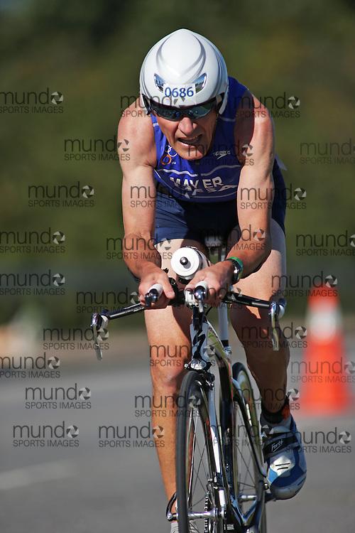 (Ottawa, Canada---10 August 2013)  Kerry Mayer (686)  of United States (USA) competing in the 65-69 Male AG International Triathlon Union 2013 World Duathlon Championships (10 km run- 40 km bike- 5km run).