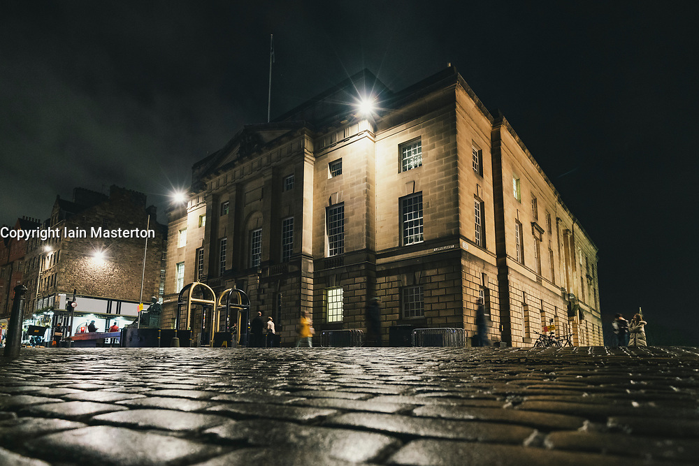 Exterior night view of High Court on Royal Mile in in Edinburgh Old Town, Scotland, UK