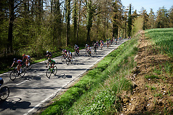 Anouska Koster (NED) and Eri Yonamine (JPN) in the bunch at La Flèche Wallonne Femmes 2018, a 118.5 km road race starting and finishing in Huy on April 18, 2018. Photo by Sean Robinson/Velofocus.com