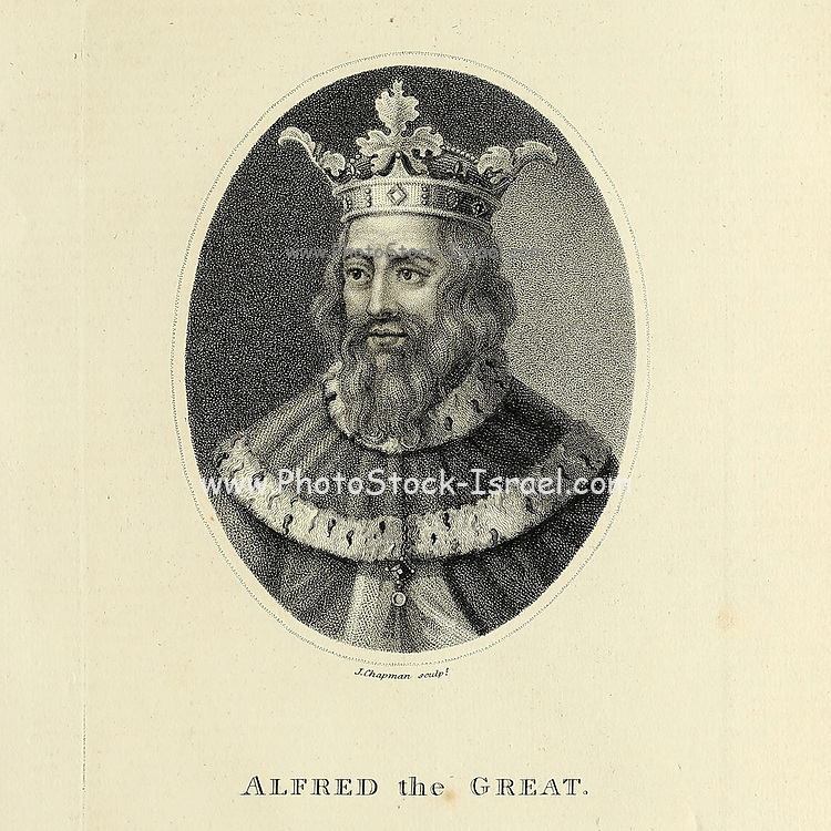 Alfred the Great (848/9 – 26 October 899) was king of the West Saxons from 871 to c.886 and king of the Anglo-Saxons from c.886 to 899. After ascending the throne, Alfred spent several years fighting Viking invasions. He won a decisive victory in the Battle of Edington in 878 and made an agreement with the Vikings, creating what was known as the Danelaw in the North of England. Alfred also oversaw the conversion of Viking leader Guthrum to Christianity. He defended his kingdom against the Viking attempt at conquest, becoming the dominant ruler in England Copperplate engraving From the Encyclopaedia Londinensis or, Universal dictionary of arts, sciences, and literature; Volume I;  Edited by Wilkes, John. Published in London in 1810