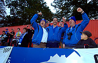 Photo: Alan Crowhurst.<br />Welling United v Clevedon Town. The FA Cup Qualifying. 28/10/2006. Clevedon fans celebrate victory.