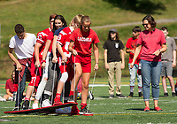 """The Sophmore's work in sync for the """"ski race"""" during Laconia High School's Homecoming Pep Rally on Friday afternoon.  (Karen Bobotas/for the Laconia Daily Sun)"""