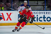 PENTICTON, CANADA - SEPTEMBER 8: Adam Ruzicka #63 of Calgary Flames skates against the Edmonton Oilers on September 8, 2017 at the South Okanagan Event Centre in Penticton, British Columbia, Canada.  (Photo by Marissa Baecker/Shoot the Breeze)  *** Local Caption ***