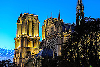 Paris, France. The Notre Dame cathedral at sunset, one of the largest churches in the world.
