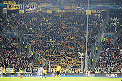 24.02.2015, Veltins Arena, Turin, ITA, UEFA CL, Juventus Turin vs Borussia Dortmund, Achtelfinale, Hinspiel, im Bild Dortmunder Fanblock // during the UEFA Champions League Round of 16, 1st Leg match between between Juventus Turin and Borussia Dortmund at the Veltins Arena in Turin, Italy on 2015/02/24. EXPA Pictures © 2015, PhotoCredit: EXPA/ Eibner-Pressefoto/ Kolbert<br /> <br /> *****ATTENTION - OUT of GER*****