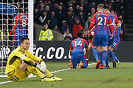 GOAL 1-0 Crystal Palace kneels and celebrates after his goal whilst Grimsby Town goalkeeper James McKeown (1) looks dejected during the The FA Cup 3rd round match between Crystal Palace and Grimsby Town FC at Selhurst Park, London, England on 5 January 2019.
