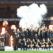 New Zealand players celebrate at the presentation ceremony after an 8-7 victory over France in the Final of the IRB Rugby World Cup tournament, Eden Park, Auckland, New Zealand. 23rd October 2011. Photo Tim Clayton...