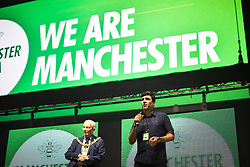 © Licensed to London News Pictures . 09/09/2017. Manchester , UK . Greater Manchester Metro Mayor ANDY BURNHAM speaks at the event . We Are Manchester reopening charity concert at the Manchester Arena with performances by Manchester artists including  Noel Gallagher , Courteeners , Blossoms and the poet Tony Walsh . The Arena has been closed since 22nd May 2017 , after Salman Abedi's terrorist attack at an Ariana Grande concert killed 22 and injured 250 . Money raised will go towards the victims of the bombing . Photo credit: Joel Goodman/LNP