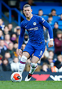 Chelsea's Ross Barkley in action during an English Premier League soccer match between Chelsea and Everton at Stamford Bridge stadium, Sunday, March 8, 2020, in London, United Kingdom. Chelsea defeated Everton 4-0. (Mitchell Gunn-ESPA Images/Image of Sport via AP)