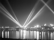 9969-2604. Searchlights of U. S. ships in Portland harbor. August 8, 1936.
