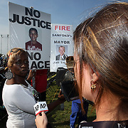Deirdre Williams of DeBary, Florida speaks to the media during a rally for the shooting of Trayvon Martin on Thursday,March 22, 2012 at Fort Mellon Park in Sanford, Florida. (AP Photo/Alex Menendez) Trayvon Martin rally in Sanford, Florida.