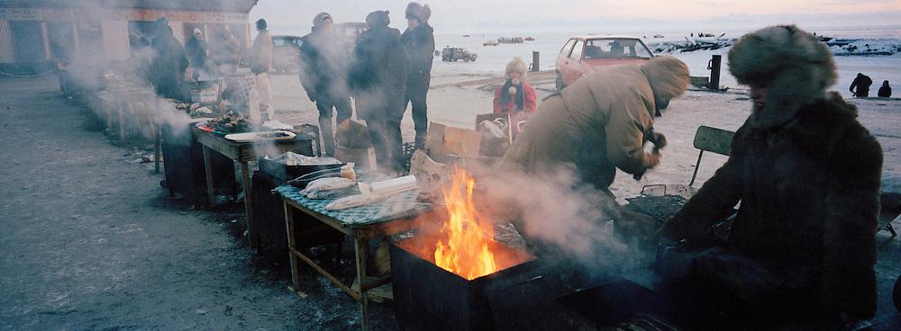 Food Market on the frozen Lake Baikal, Siberia, Russia