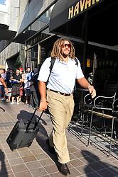 Philadelphia Eagles Left Defensive Tackle Trevor Laws #93 Arrives at the hotel in Cincinnati, Ohio on Thursday August 19th 2010. (AP Photo/Brian Garfinkel)