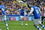 Sheffield Wednesday midfielder David Jones (3)  shots at goal during the EFL Sky Bet Championship match between Sheffield Wednesday and Sheffield Utd at Hillsborough, Sheffield, England on 24 September 2017. Photo by Adam Rivers.