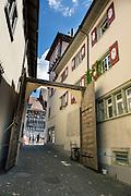 Stein am Rhein has a well-preserved medieval center in Schaffhausen Canton, Switzerland, Europe.