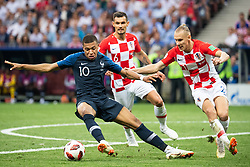 July 15, 2018 - Moscow, Russia - 180715 Kylian Mbappe of France competes for the ball with Domagoj Vida of Croatia during the FIFA World Cup final match between France and Croatia on July 15, 2018 in Moscow..Photo: Petter Arvidson / BILDBYRÃ…N / kod PA / 92087 (Credit Image: © Petter Arvidson/Bildbyran via ZUMA Press)