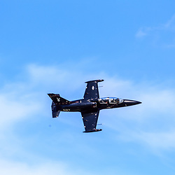 Lancaster, PA, USA - August 22, 2015: An L-39 jet during a fly-over at Lancaster Airport Community Days air show.