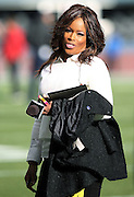 FOX Sports sideline reporter Pam Oliver smiles while working the field before the NFL week 12 regular season football game against the Arizona Cardinals on Sunday, Nov. 23, 2014 in Seattle. The Seahawks won the game 19-3. ©Paul Anthony Spinelli