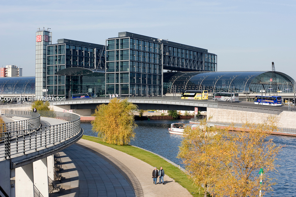 Exterior view on new Hauptbahnhof Railway Station or Central station in Berlin