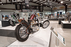 Bagger Nation's Paul Yaffe's Re-Cycled custom 1964 Triumph Thunderbird 650 in the What's the Skinny Exhibition (2019 iteration of the Motorcycles as Art annual series) at the Sturgis Buffalo Chip during the Sturgis Black Hills Motorcycle Rally. SD, USA. Thursday, August 8, 2019. Photography ©2019 Michael Lichter.