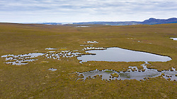 Aerial view of location of proposed spaceport on blanket bog on the A' Mhoine Peninsula (Moine Peninsula) in Sutherland, Scotland, UK