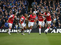 Photo: Rich Eaton.<br /> <br /> Chelsea v Arsenal. Carling Cup Final. 25/02/2007. Theo Walcott of Arsenal #32 second right scores the first goal of the game and celebrates with teammates