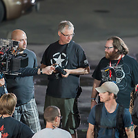 Irish director John Moore (2nd R) directs a fighting scene on set during a shooting of his next movie fifth in the Die Hard series titled Good Day to Die Hard in Budapest, Hungary on July 11, 2012. ATTILA VOLGYI