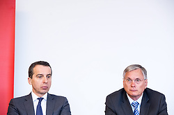 10.02.2015, Rail Tec Arsenal, Wien, AUT, ÖBB cityjet im Klima-Wind-Kanal, im Bild v.l.n.r. Generaldirektor ÖBB Christian Kern und Bundesminister für Verkehr, Innovation und Technologie Alois Stöger (SPÖ) // f.l.t.r. Director General of the Austrian Federal Railway Christian Kern and Minister of transport, innovation and technology Alois Stoeger (SPOe) during presentation of OEBB cityjet in wind tunnel of Rail Tec Arsenal in Vienna, Austria on 2015/02/10, EXPA Pictures © 2015, PhotoCredit: EXPA/ Michael Gruber