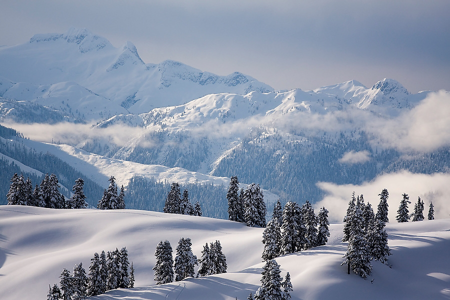 Winter alpine scene, Garibaldi Provincial Park, British Columbia, Canada.