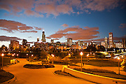 Chicago's Skyline from the Museum Campus at twilight