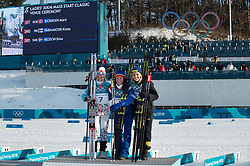 February 25, 2018 - Pyeongchang, South Korea - (L-R) Silver medal winner Krista Parmakoski of Finland, gold medal winner Marit Bjoergen of Norway and bronze medal winner Stina Nilsson of Sweden celebrate winning  the Ladies Cross Country Skiing Mass Start 30k at the PyeongChang 2018 Winter Olympic Games at Alpensia Cross-Country Skiing Centre on Sunday February 25, 2018. .Marit Bjoergen won the eighth gold medal of her career in the ladies' 30km mass start classic, the final event of the Games. After another multi-medal haul here, the illustrious veteran of five Games leaves PyeongChang as the most decorated Winter Olympian in history with a total of 15 medals: she has four silver and three bronze as well as her eight gold. (Credit Image: © Paul Kitagaki Jr. via ZUMA Wire)