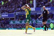 Matthew Jarvis of Norwich City reacts to missing a chance. Barclays Premier League match, Everton v Norwich City at Goodison Park in Liverpool on Sunday 15th May 2016.<br /> pic by Chris Stading, Andrew Orchard sports photography.
