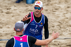 Alexander Brouwer, Robert Meeuwsen (r) in action. The Final Day of the DELA NK Beach volleyball for men and women will be played in The Hague Beach Stadium on the beach of Scheveningen on 23 July 2020 in Zaandam.