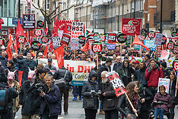 "London, April 16th 2016. Protesters march along Gower Street as thousands of people supported by trade unions and other rights organisations demonstrate against the policies of the Tory government, including austerity and perceived favouring of ""the rich"" over ""the poor""."