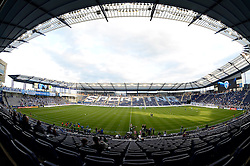 May 8, 2013; Kansas City, KS, USA; A general view of the stadium as Sporting KC and Seattle Sounders FC teams warm up on the field at Sporting Park. Mandatory Credit: Denny Medley-USA TODAY Sports