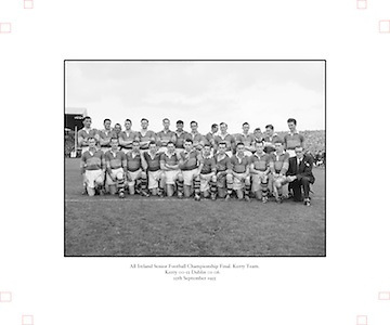 All Ireland Senior Football Championship Final, 25.09.1955, 09.25.1955, 25th September 1955, Kerry 00-12 Dublin 01-06, 25091955AISFCF,..Kerry, Back row from left, Ned Fitzgerald (sub), Micksie Palmer, Sean Murphy, Ned Roche, Jerome O'Shea, John Cronin, Michael Murphy, Tom Moriarty, Bobbie Buckley (sub), Tadgh Lyne, Jim Brosnan, John Joe Sheehan, front row from left, Gerald O'Sullivan (sub), Colm Kennelly (sub), Denis O'Shea, Johnny Culloty, Paudie Sheehy, John Dowling (captain), Garry Mahony, Donal O'Neill (sub), Tom Costello, Dermot Dillon )sub), Dan McAuliffe (sub), Tadgh Crowley, Kerry Co Secretary,