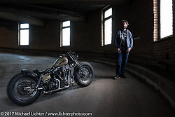 """Vlad Romanov of Leecoln Hotrods with his custom 1978 Harley Davidson 80"""" Shovelhead after the Moscow Custom and Tuning Show. Moscow, Russia. Monday April 24, 2017. Photography ©2017 Michael Lichter."""