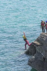 Coasteering on The Headland in Newquay, Cornwall.