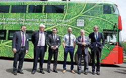 Boris Johnson Mayor of London launches world-first electric double-decker bus trial at global Clean Bus Summit<br /> <br />  <br /> <br /> 29th June 2015<br /> at City Hall, London, Great Britain <br /> <br /> Boris Johnson<br /> Sir Peter Hendy<br /> Zac Goldsmith <br /> <br /> and hybrid double-decker bus wrapped in green livery<br /> <br /> <br /> The Mayor of London Boris Johnson will announce that London is set to trial the world's first purpose-built double-decker purely electric bus, during the first ever global Clean Bus Summit. The Summit is organised with C40, a partnership of global cities acting on climate change, at City Hall. <br /> <br /> <br /> <br /> Photograph by Elliott Franks <br /> Image licensed to Elliott Franks Photography Services