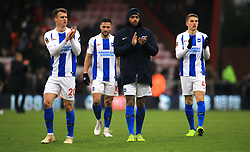 Brighton & Hove Albion players applaud the fans after the final whistle during the Emirates FA Cup, third round match at the Vitality Stadium, Bournemouth.