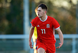 BANGOR, WALES - Saturday, November 17, 2018: Wales' Joseph Adams celebrates scoring the first goal during the UEFA Under-19 Championship 2019 Qualifying Group 4 match between Sweden and Wales at the Nantporth Stadium. (Pic by Paul Greenwood/Propaganda)