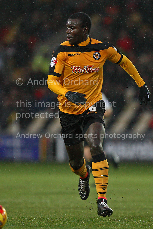 Ismail Yakubu of Newport County. Skybet football league two match, Newport County v Plymouth Argyle at Rodney Parade in Newport, South Wales on Boxing Day, Friday 26th December 2014<br /> pic by Mark Hawkins, Andrew Orchard sports photography.