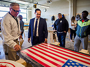 15 APRIL 2019 - DES MOINES, IOWA: Julián  Castro visited the Central Campus Skilled Trades Alliance at the Des Moines Public School's Central Campus Monday. Casto talked to students and administrators about skilled trades education and toured the campus. Castro is on his third visit to Iowa since declaring his candidacy for the Democratic ticket of the US Presidency. Iowa traditionally hosts the the first selection event of the presidential election cycle. The Iowa Caucuses will be on Feb. 3, 2020.                PHOTO BY JACK KURTZ