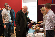 A Sunday community lunch at Linton Lane Community Centre, Kirkcaldy, Fife. For many this might be one of the few hot meals they get served outside of their home, each week.<br /><br />Kirkcaldy is one of the poorest areas in Scotland with staggeringly high numbers of child poverty. Many disadvantaged families, and vulnerable people, and over a thousand children are surviving below the breadline in Kirkaldy East, that is 40%. Voluntary organisations and foodbanks give over a thousand food parcels a month, several times more than a few years ago. The Conservative government's policy of austerity together with the new 'Universal Credit' system which replaced six other benefits, makes millions of people poorer, many hundreds of thousands on the poverty line or below. Whilst people overall voted strongly against Brexit in Scotland, in other parts of the country, poorer constituencies voted largely for Brexit, in a vote against the City of London.